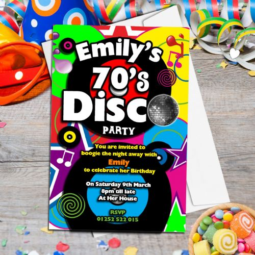 10 Personalised 70's Disco Birthday Party Invitations N130